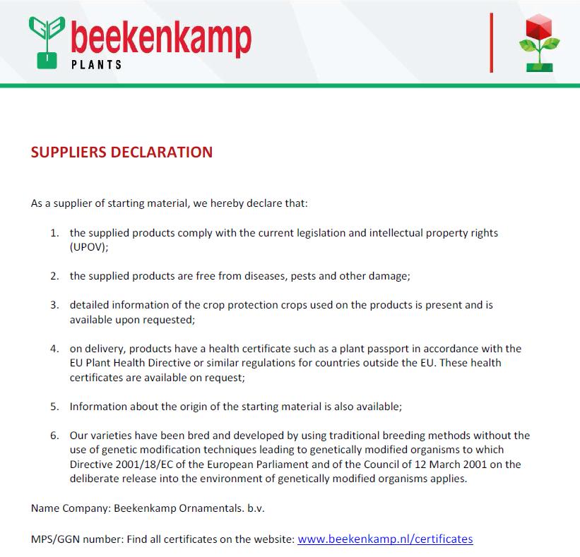 Suppliers declaration